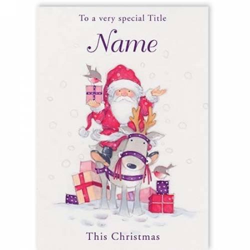 Santa & Reindeer Very Special Recipient Christmas Card