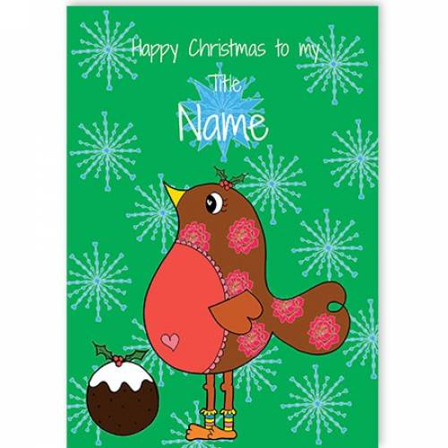 Pudding & Robin Happy Christmas Card