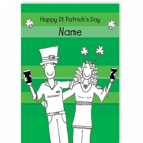 Couple With Pints Happy Patrick's Day Card