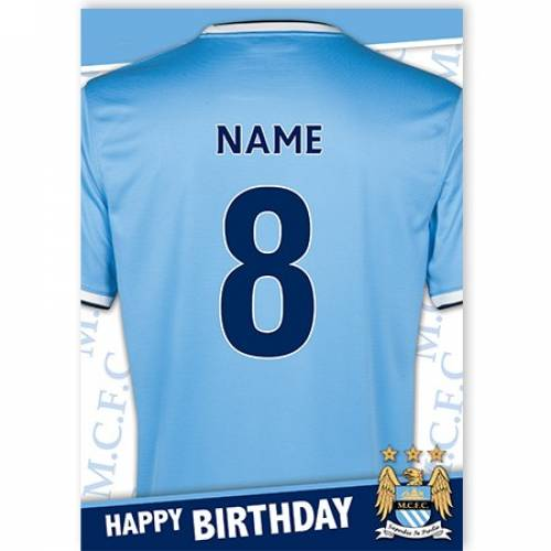 Manchester City Jersey Age Birthday Card