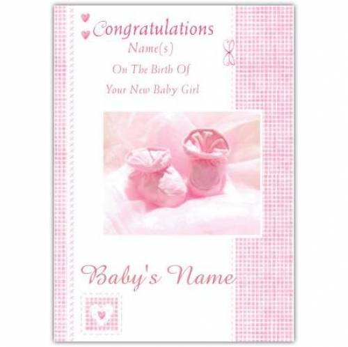 Baby Boots Congratulations On The Birth Baby Girl PinkCard Card