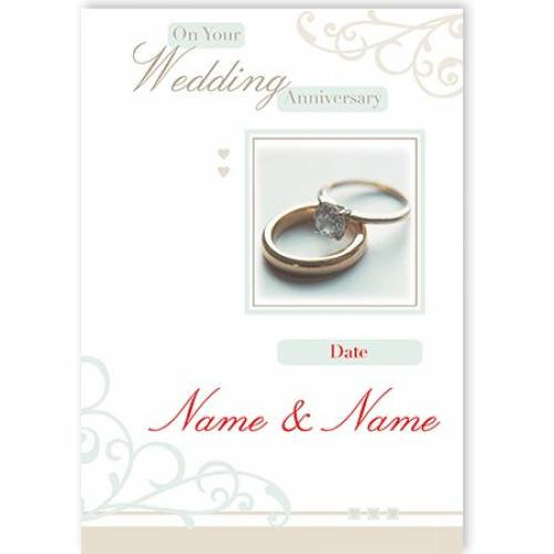 Rings Inserts Names On Your Wedding Anniversary Card