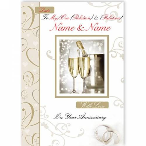Champagne & Flutes On Your Anniversary Card