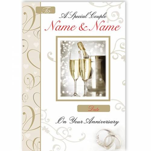 Champagne & Flutes Special Couple On Your Anniversary Card
