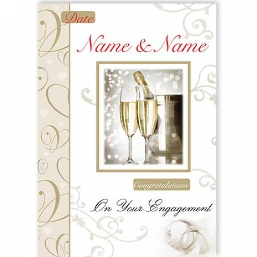 Champagne & Flutes Congratulations On Your Engagement Card