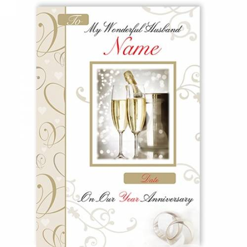 Champagne & Flutes My Wonderful Husband On Our Anniversary Card