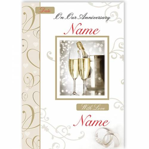 Champagne & Flutes On Our Anniversary Card