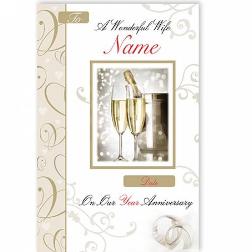 Champagne & Flutes Wonderful Wife On Our Anniversary Card