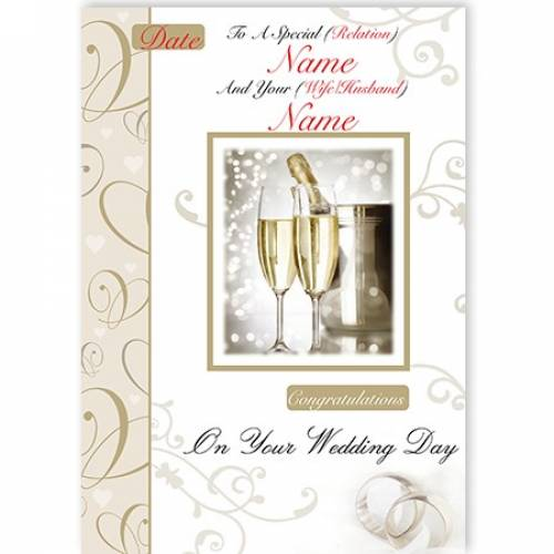 Champagne & Flutes Congratulations On Your Wedding Day Card