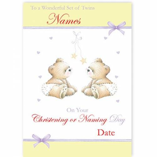 Wonderful Set Of Twins On Christening Or Naming Day Card