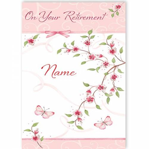 Pink Butterflies & Tree On Your Retirement Card