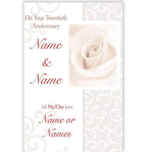 On Your Twentieth Anniversary Name And Name Card