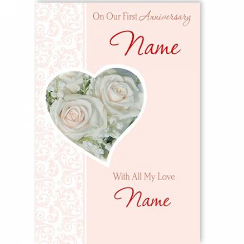On Our First Anniversary Name With All My Love Name Card