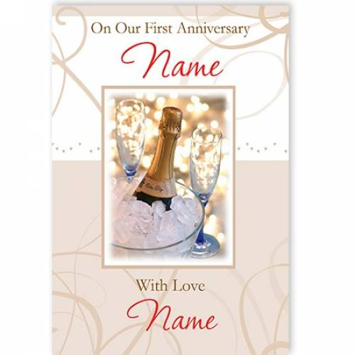 Pn Our First Anniversary Name With Love Name Card