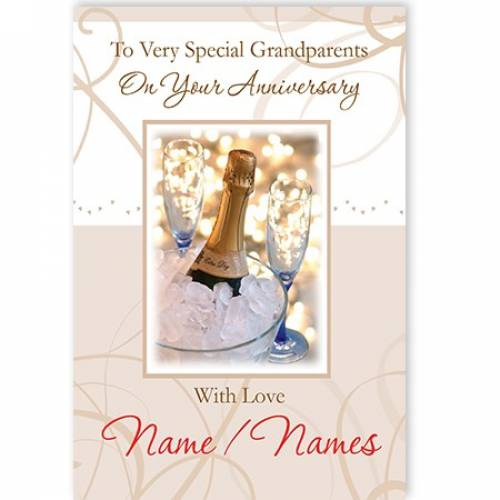To Very Special Grandparents On Your Anniversary With Love Names / Names Card