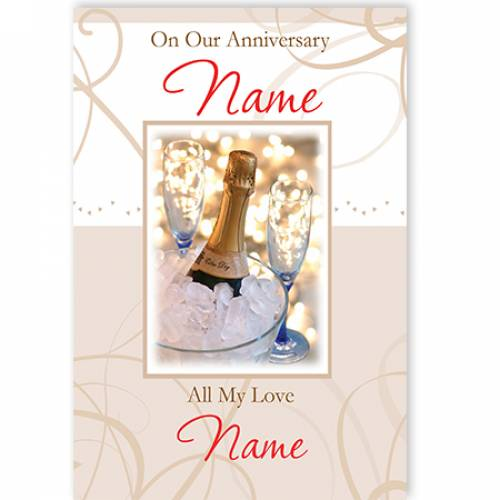 On Our Anniversary Name With All My Love Name Card