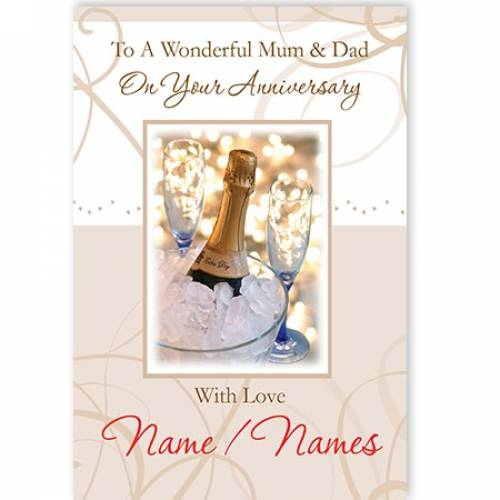 To A Wonderful Mum And Dad On Your Anniversary Card