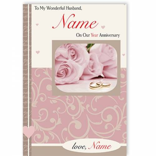 To My Wonderful Husband Name On Our Anniversary Card