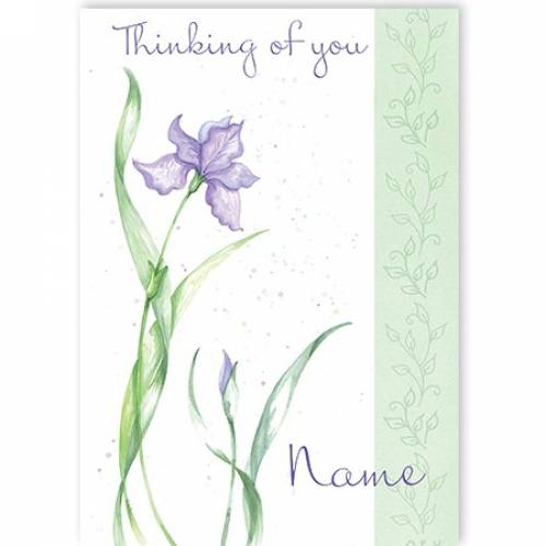 Purple Flowers Thinking Of You Card