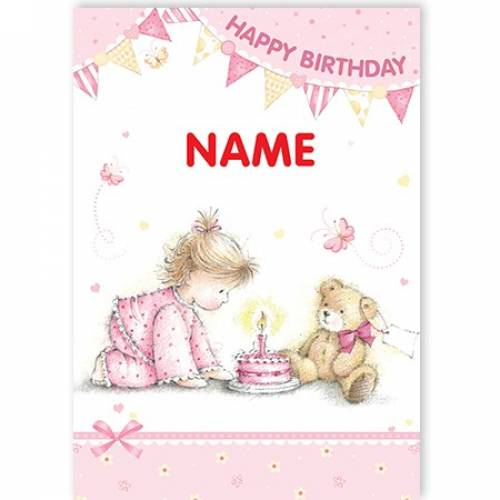 Birthday Girl Teddy & Cake Happy Birthday Card