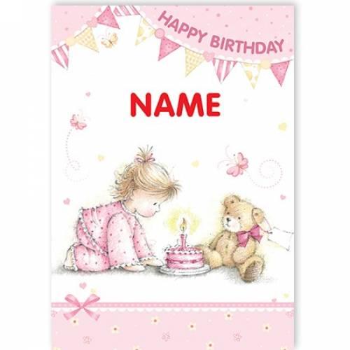 Birthday Girl Teddy & Cake Happy Birthday Card