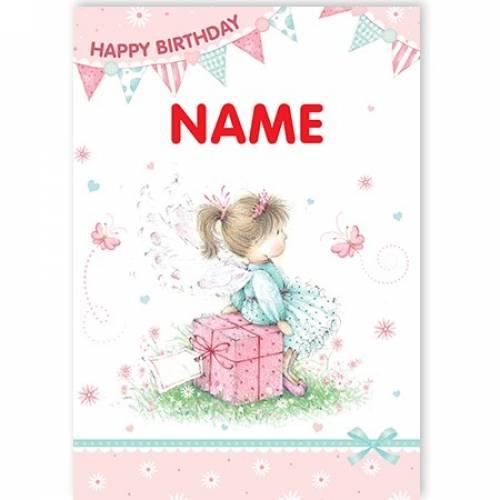 Girl On Gift Box Happy Birthday Card