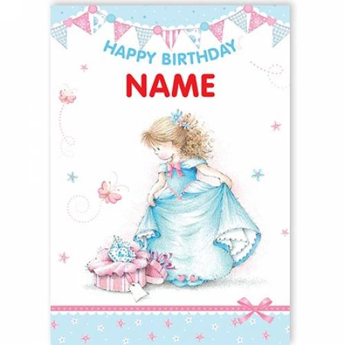 Blue Dress Girl Happy Birthday Card