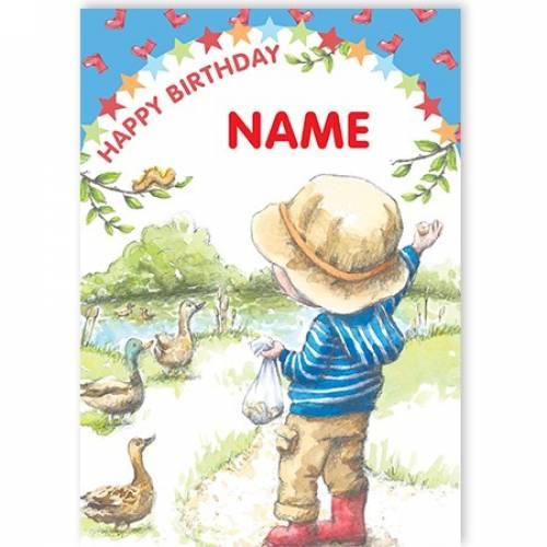 Feeding Ducks Name Happy Birthday Card