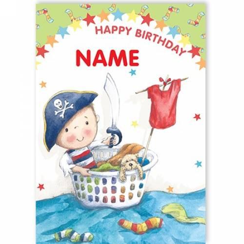Pirate Washing Basket Happy Birthday Card
