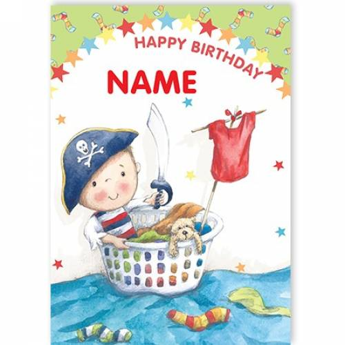 Pirate Washing Basket Happy Birthday Card