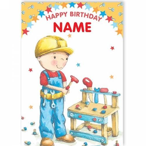 Boy Builder Happy Birthday Card