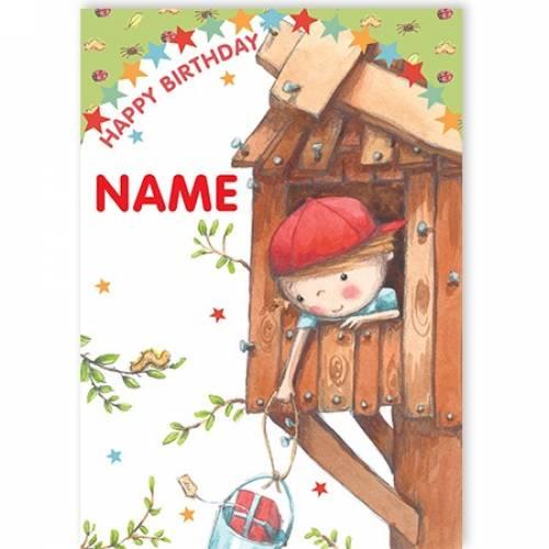 Treehouse Name Happy Birthday Card