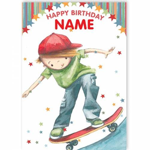 Skateboard Boy Happy Birthday Card
