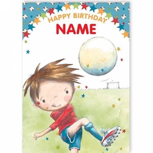 Footballer Boy Happy Birthday Card