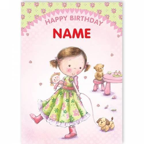 Girl Walking Dog Happy Birthday Card