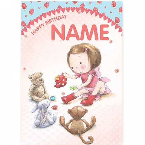 Teddies And Bunnies With Girl Birthday Card