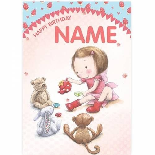 Teddies And Bunnies With Girl Birthday Card