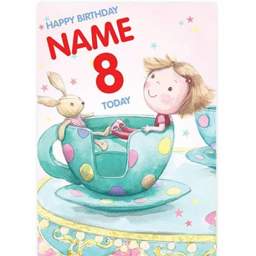 Rabbit Tea Cup Birthday Card