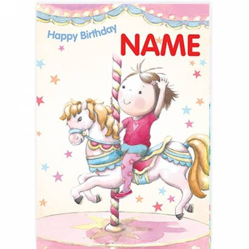 Merry Go Round Happy Birthday Card