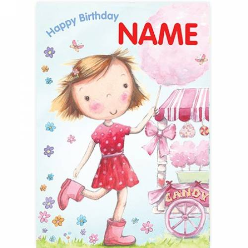 Candyfloss Girl Happy Birthday Card