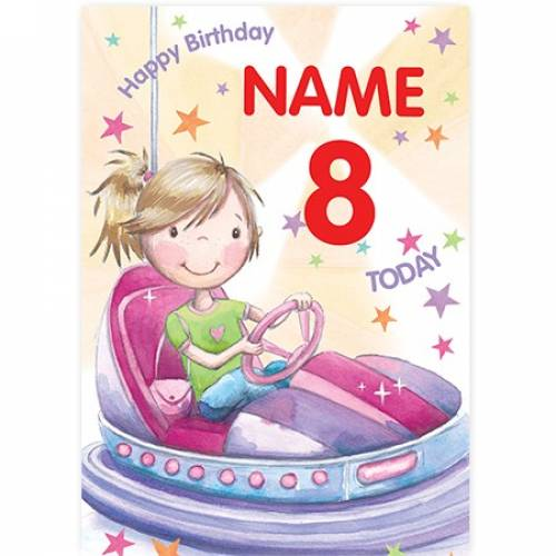 Bumper Cars Girls Birthday Card