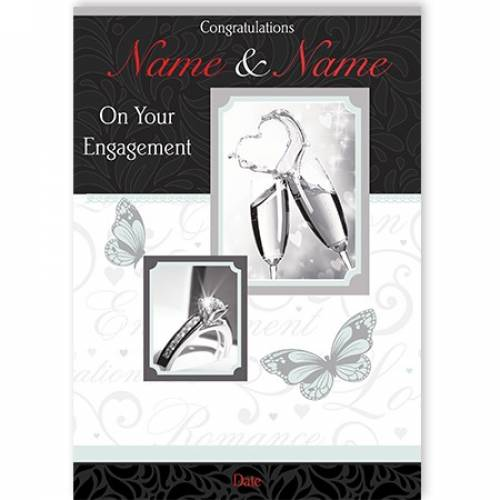 Congratulations Champagne Glasses Engagement Card