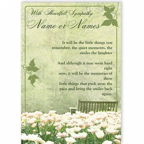 With Heartfelt Sympathy Name Flowers Card