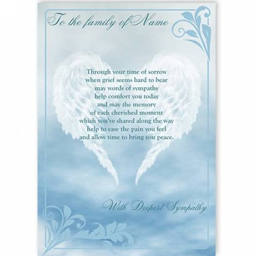 To The Family Of Name With Deepest Sympathy Card