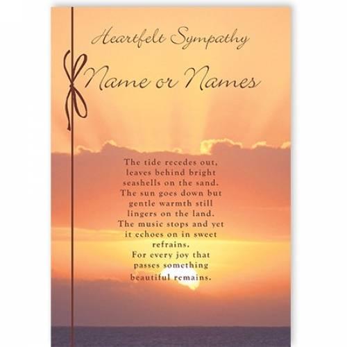 Heartfelt Sympathy Clouds Sunset Card