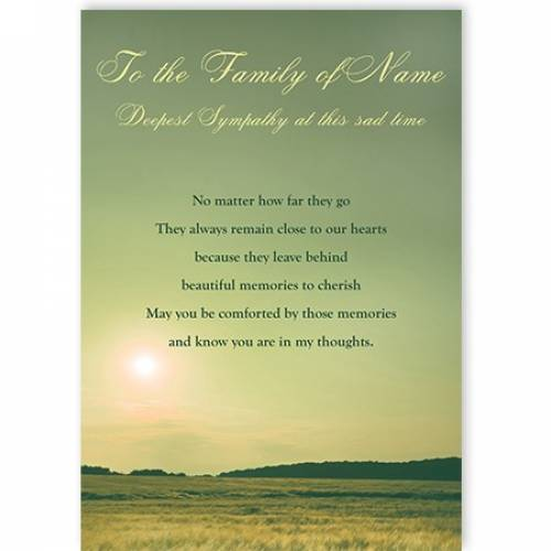 To The Family In Sympathy Landscape Card