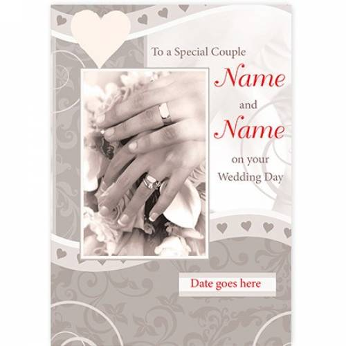 Special Couple Wedding Rings On Hands And Date Card