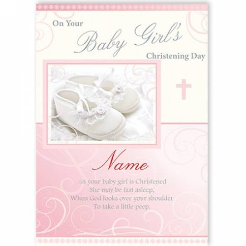On Your Baby's Girl's White Shoes Card