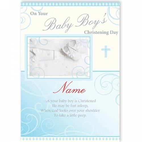 On Your Baby Boy's Christening Day  Card