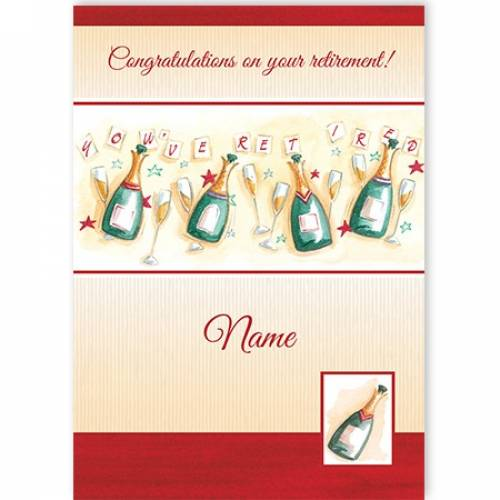 Congrats On Your Retirement Champagne Bottle Card